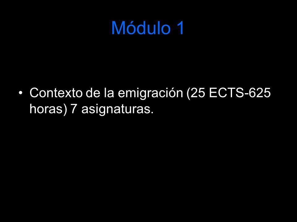 Módulo 1 Contexto de la emigración (25 ECTS-625 horas) 7 asignaturas.