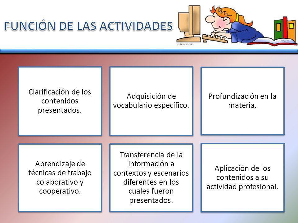 Clarificación de los contenidos presentados.Adquisición de vocabulario específico.