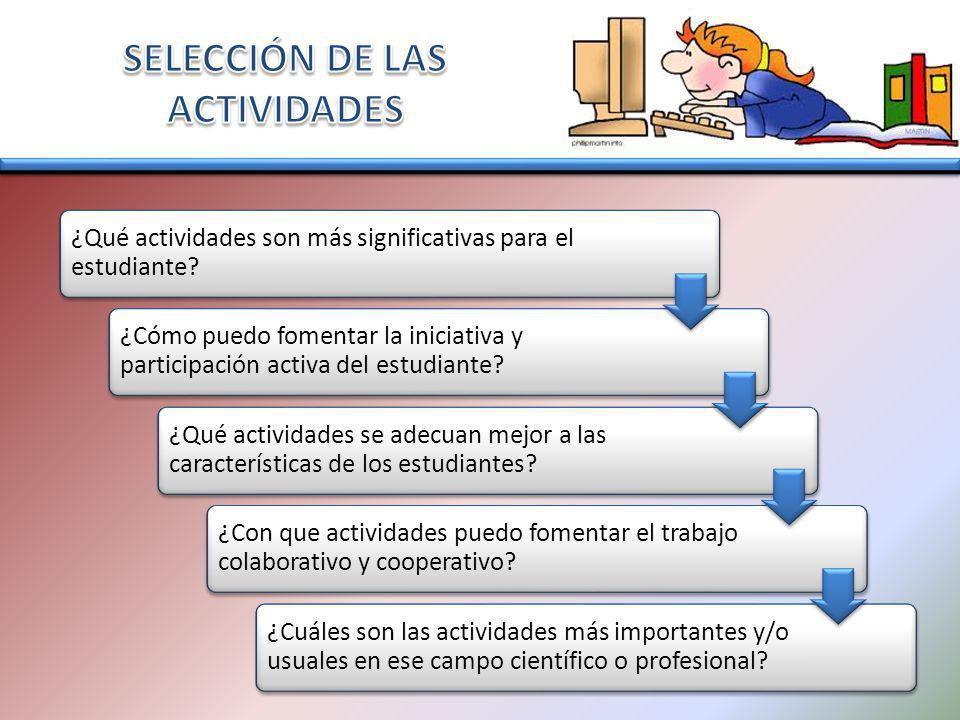¿Qué actividades son más significativas para el estudiante? ¿Cómo puedo fomentar la iniciativa y participación activa del estudiante? ¿Qué actividades