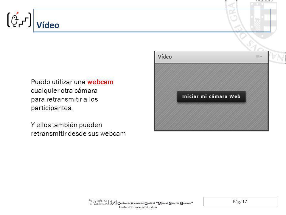 Pàg. 17 Vídeo Unitat dInnovació Educativa Puedo utilizar una webcam cualquier otra cámara para retransmitir a los participantes. Y ellos también puede