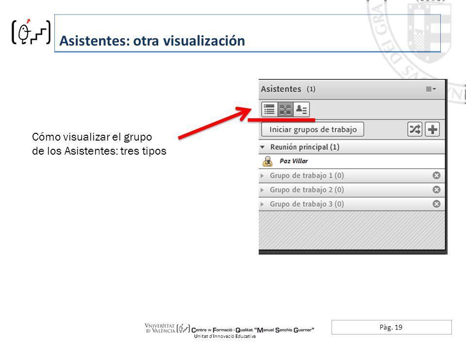 Pàg. 19 Asistentes: otra visualización Unitat dInnovació Educativa Cómo visualizar el grupo de los Asistentes: tres tipos