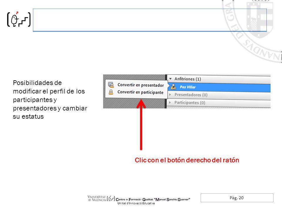 Pàg. 20 Unitat dInnovació Educativa Posibilidades de modificar el perfil de los participantes y presentadores y cambiar su estatus Clic con el botón d