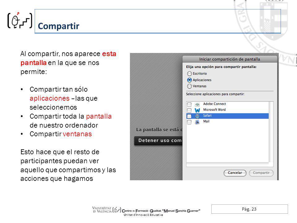 Pàg. 23 Compartir Unitat dInnovació Educativa Al compartir, nos aparece esta pantalla en la que se nos permite: Compartir tan sólo aplicaciones –las q
