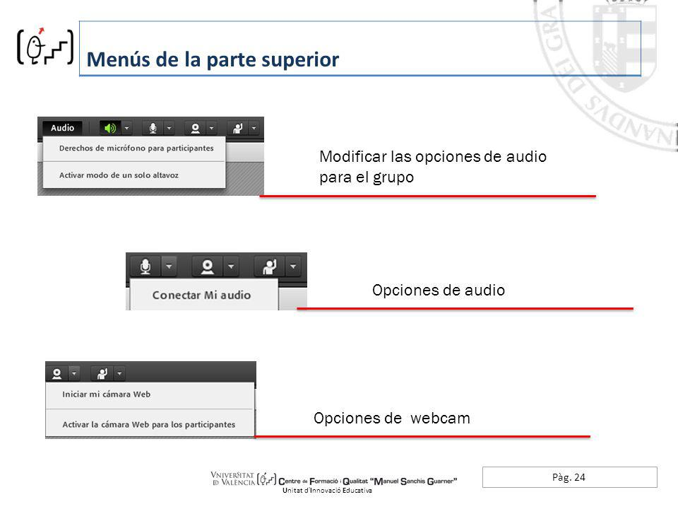 Pàg. 24 Menús de la parte superior Unitat dInnovació Educativa Modificar las opciones de audio para el grupo Opciones de audio Opciones de webcam