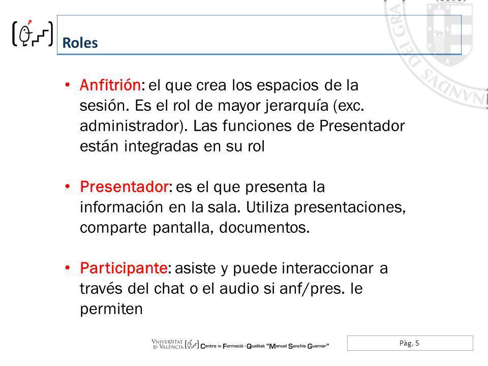 Pàg. 5 Roles Anfitrión: el que crea los espacios de la sesión. Es el rol de mayor jerarquía (exc. administrador). Las funciones de Presentador están i
