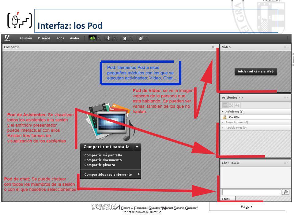 Pàg. 7 Interfaz: los Pod Unitat dInnovació Educativa