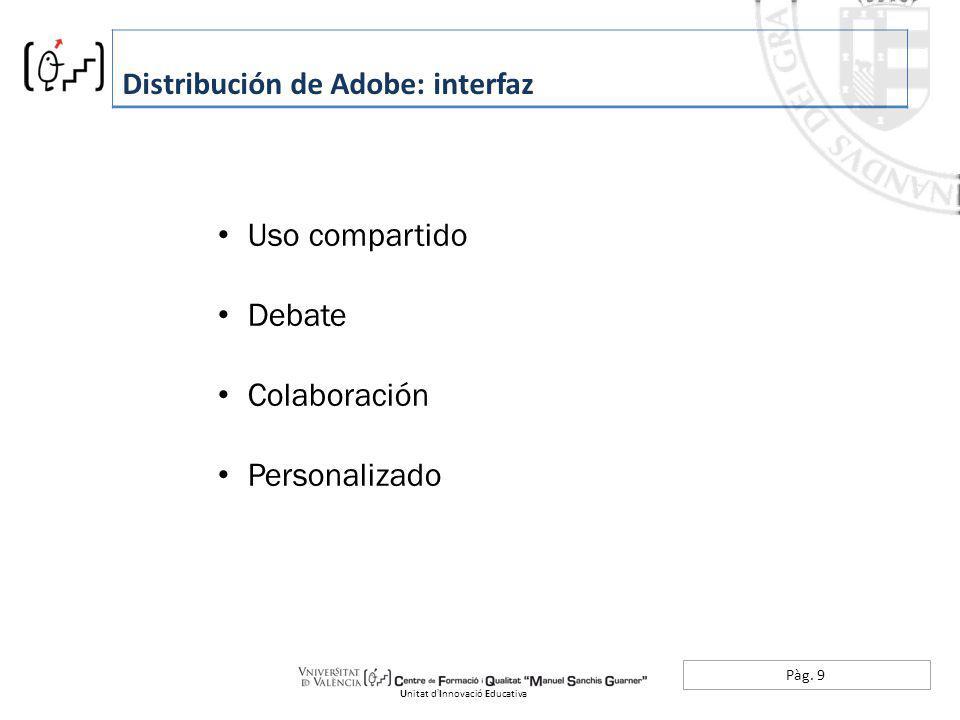 Pàg. 9 Distribución de Adobe: interfaz Unitat dInnovació Educativa Uso compartido Debate Colaboración Personalizado