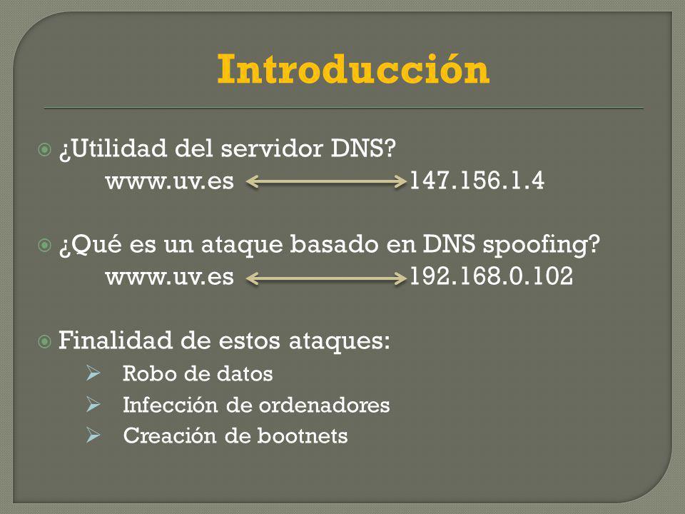 ¿Utilidad del servidor DNS.www.uv.es 147.156.1.4 ¿Qué es un ataque basado en DNS spoofing.