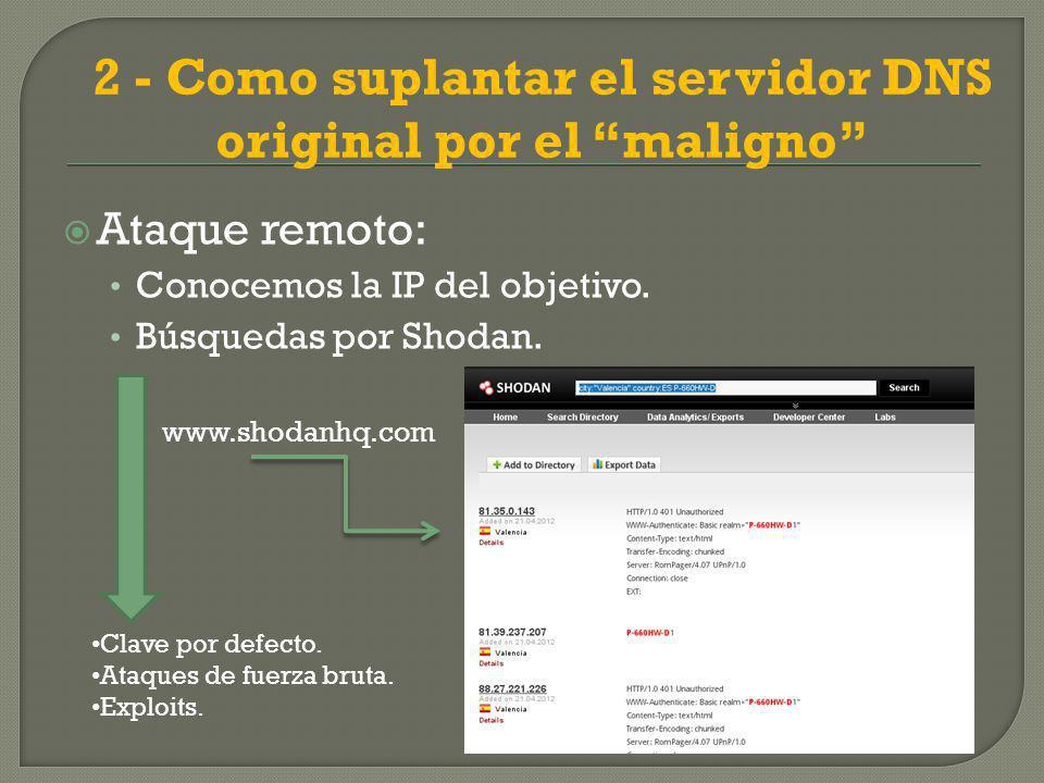 2 - Como suplantar el servidor DNS original por el maligno Ataque remoto: Conocemos la IP del objetivo.