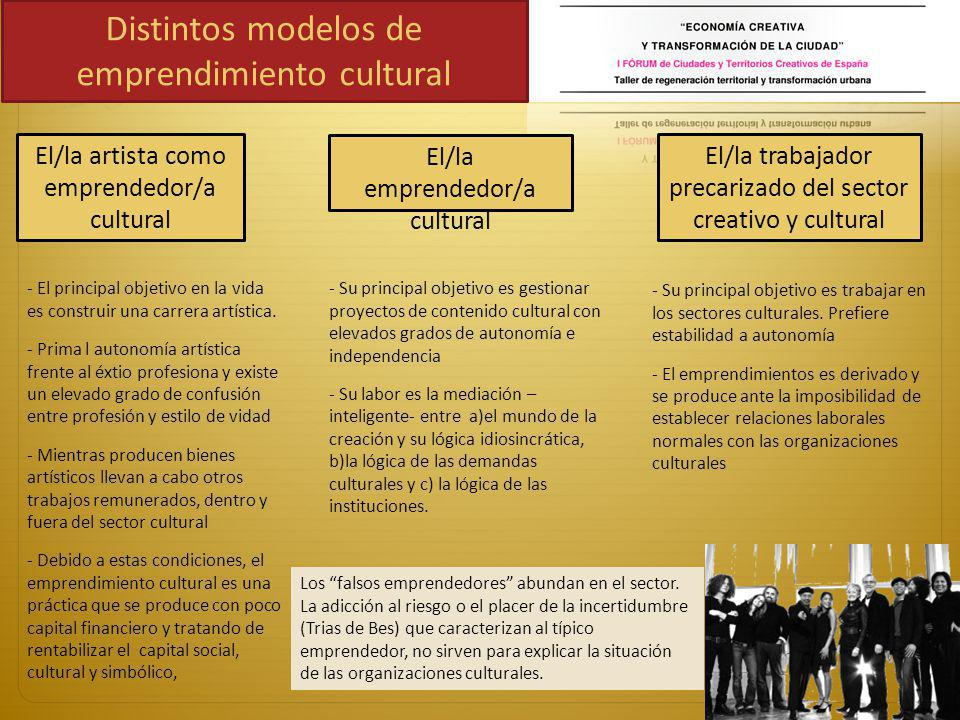 Los efectos de la empresarialidad sobre la riqueza de los territorios CULTURE ECONOMIC SYSTEM INNOVATIVE INPUTS INCREASE PRODUCTIVITY SYSTEMIC BACKGROUND FOR INNOVATION SOPHISTICATED DEMAND FROM THE CREATIVE CLASS FOR INNOVATION IN ALL FIELDS PRODUCERS OF VALUES THAT CHANGES PRODUCTS, PROCCES AND GOALS OF ECONOMIC SYSTEM THE FLEXIBLE FEATURES OF THE CULTURAL SECTOR CAN SERVE AS AN ADJUSTMENT MECHANISM FOR THE WHOLE ECONOMIC SYSTEM THE FIELD OF CULTURE CREATES SPACES THAT FERTILIZE THE GENERATION OF SOCIAL CAPITAL THAT ARE VALUED IN THE ECONOMIC, SOCIAL, POLITICAL FIELDS