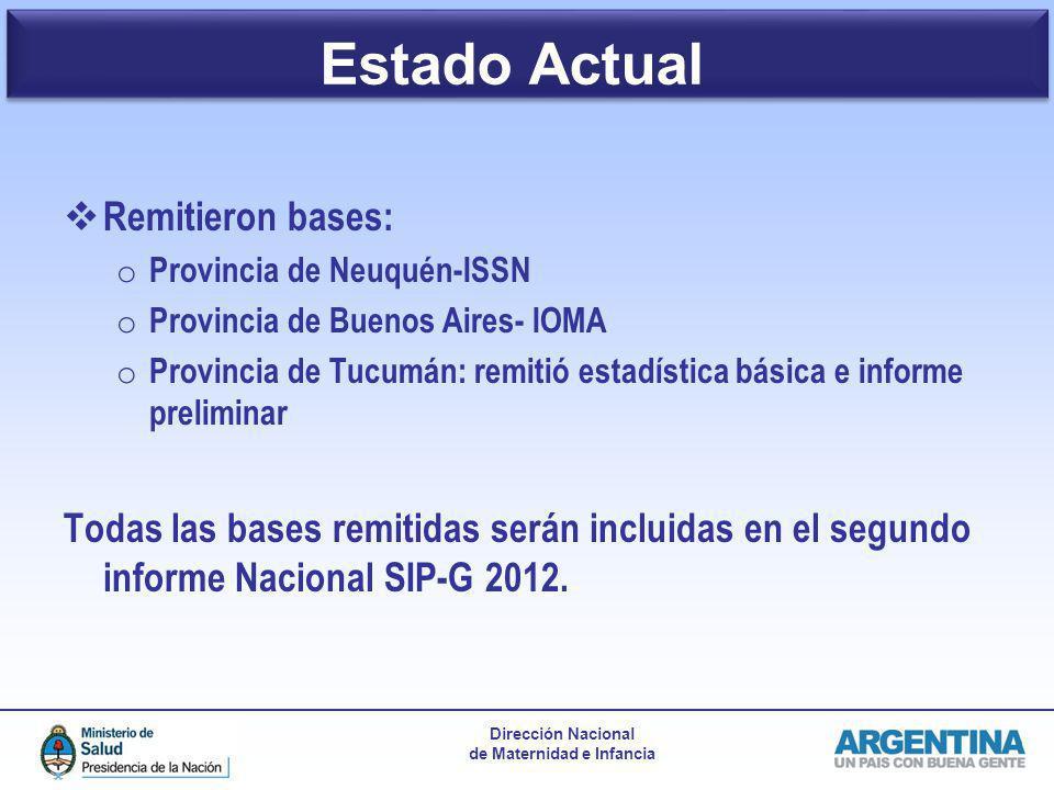 Dirección Nacional de Maternidad e Infancia Remitieron bases: o Provincia de Neuquén-ISSN o Provincia de Buenos Aires- IOMA o Provincia de Tucumán: re