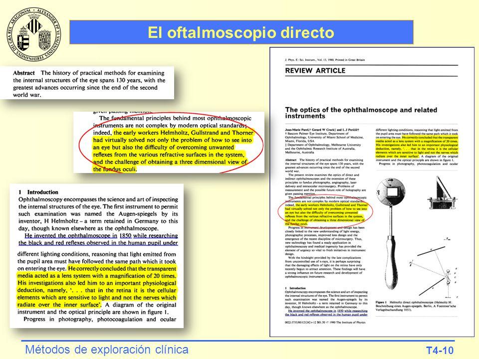 T4-10 Métodos de exploración clínica El oftalmoscopio directo
