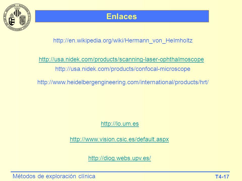 T4-17 Métodos de exploración clínica Enlaces http://usa.nidek.com/products/scanning-laser-ophthalmoscope http://lo.um.es http://www.vision.csic.es/def