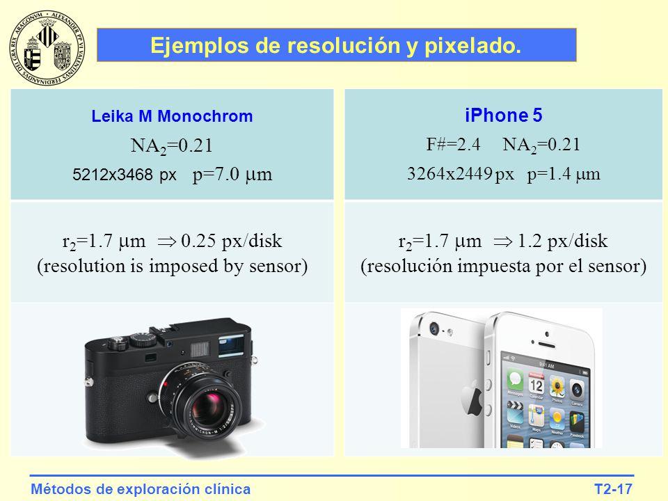 T2-17Métodos de exploración clínica iPhone 5 F#=2.4 NA 2 =0.21 3264x2449 px p=1.4 m r 2 =1.7 m 1.2 px/disk (resolución impuesta por el sensor) Leika M