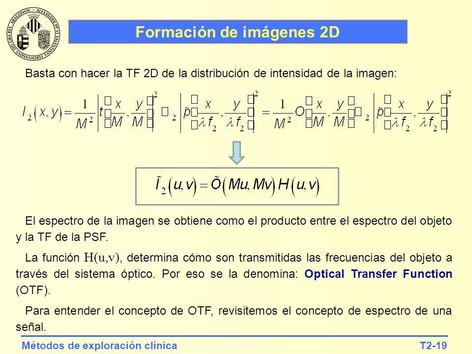 T2-19Métodos de exploración clínica Formación de imágenes 2D El espectro de la imagen se obtiene como el producto entre el espectro del objeto y la TF