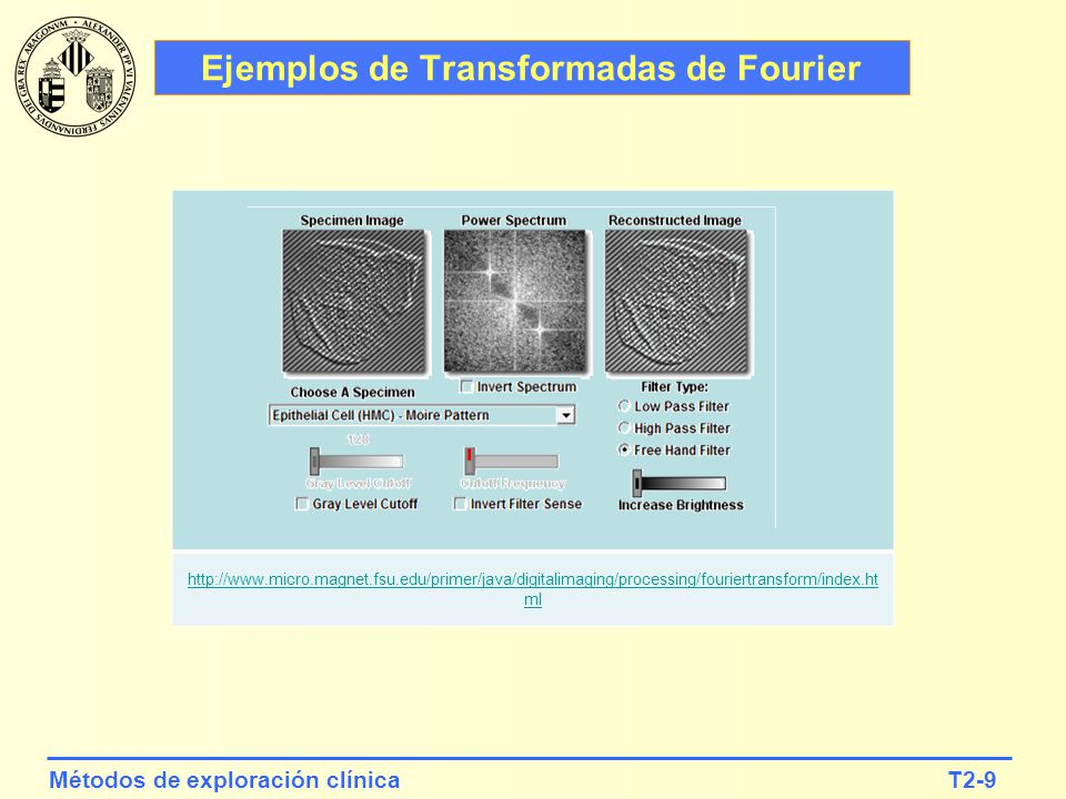 T2-9Métodos de exploración clínica http://www.micro.magnet.fsu.edu/primer/java/digitalimaging/processing/fouriertransform/index.ht ml Ejemplos de Tran