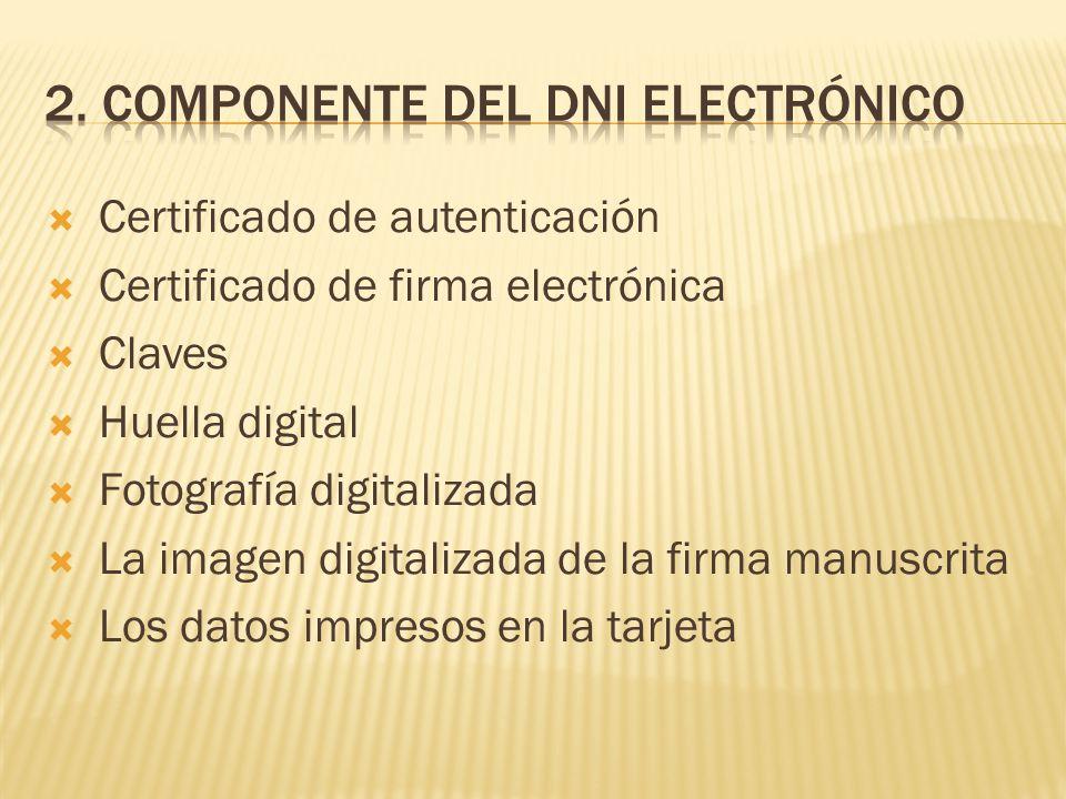 Certificado de autenticación Certificado de firma electrónica Claves Huella digital Fotografía digitalizada La imagen digitalizada de la firma manuscr