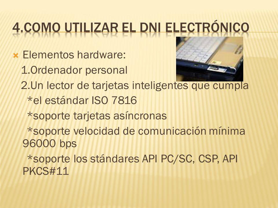 Elementos hardware: 1.Ordenador personal 2.Un lector de tarjetas inteligentes que cumpla *el estándar ISO 7816 *soporte tarjetas asíncronas *soporte v