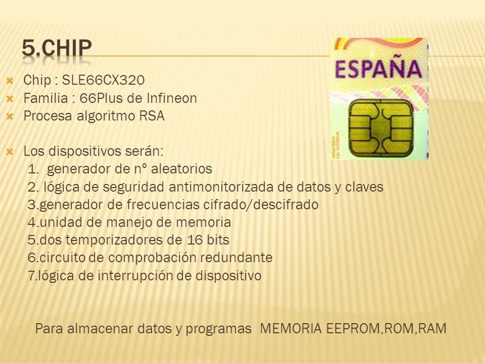 Chip : SLE66CX320 Familia : 66Plus de Infineon Procesa algoritmo RSA Los dispositivos serán: 1. generador de nº aleatorios 2. lógica de seguridad anti