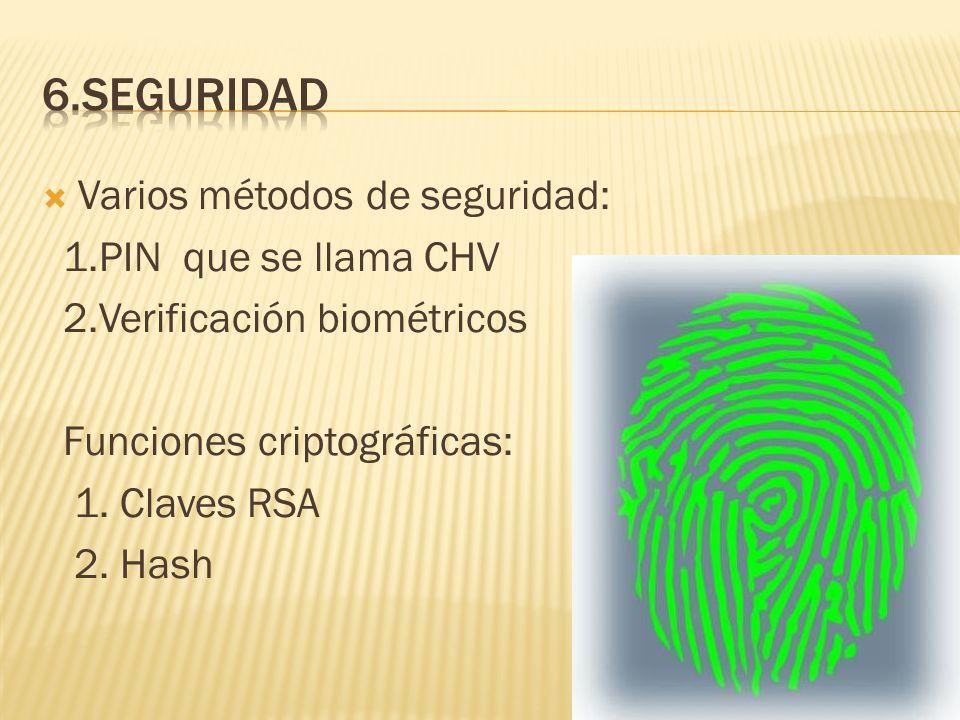 Varios métodos de seguridad: 1.PIN que se llama CHV 2.Verificación biométricos Funciones criptográficas: 1. Claves RSA 2. Hash