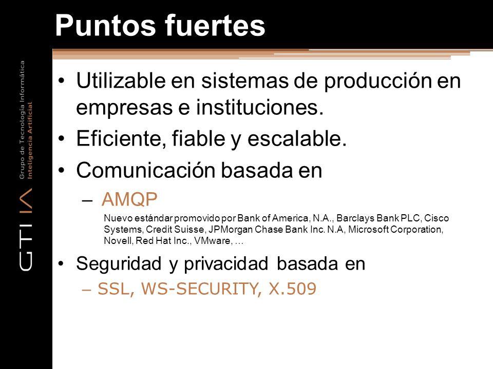 Puntos fuertes Utilizable en sistemas de producción en empresas e instituciones. Eficiente, fiable y escalable. Comunicación basada en – AMQP Nuevo es