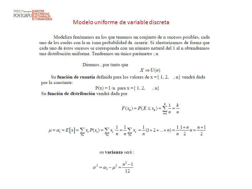 Modelo uniforme de variable discreta