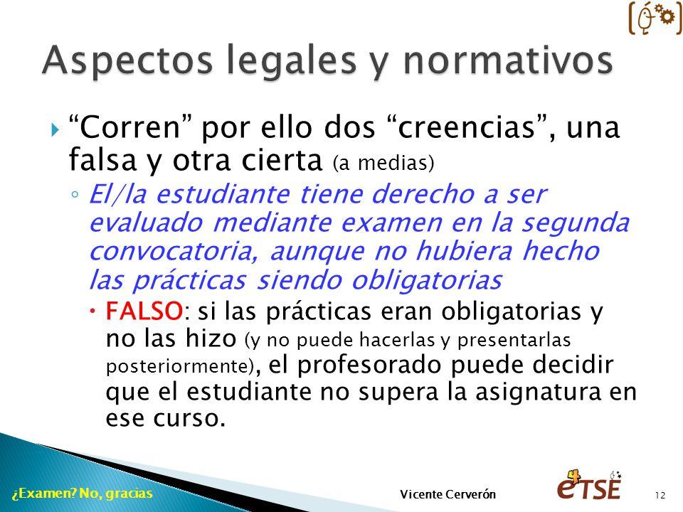 Corren por ello dos creencias, una falsa y otra cierta (a medias) El/la estudiante tiene derecho a ser evaluado mediante examen en la segunda convocat