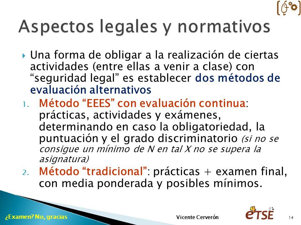 Una forma de obligar a la realización de ciertas actividades (entre ellas a venir a clase) con seguridad legal es establecer dos métodos de evaluación