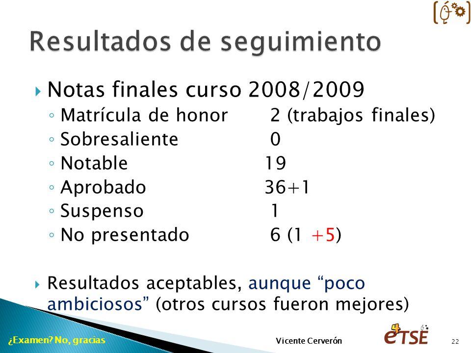 Notas finales curso 2008/2009 Matrícula de honor 2 (trabajos finales) Sobresaliente 0 Notable19 Aprobado36+1 Suspenso 1 No presentado 6 (1 +5) Resultados aceptables, aunque poco ambiciosos (otros cursos fueron mejores) ¿Examen.