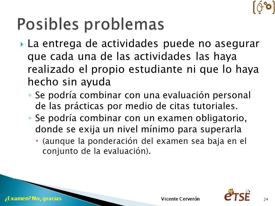 La entrega de actividades puede no asegurar que cada una de las actividades las haya realizado el propio estudiante ni que lo haya hecho sin ayuda Se
