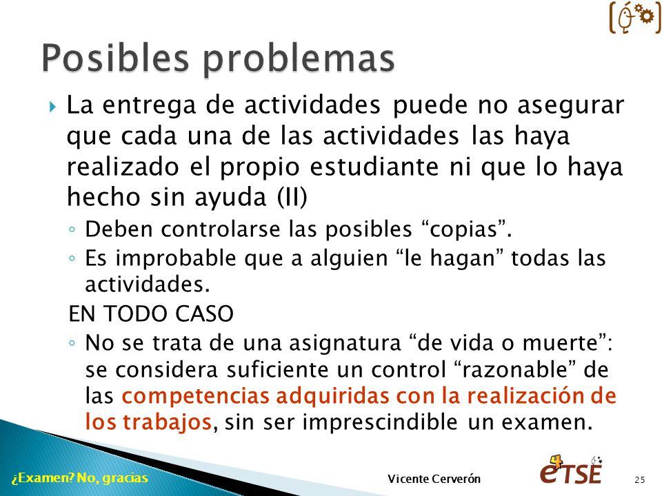 La entrega de actividades puede no asegurar que cada una de las actividades las haya realizado el propio estudiante ni que lo haya hecho sin ayuda (II) Deben controlarse las posibles copias.