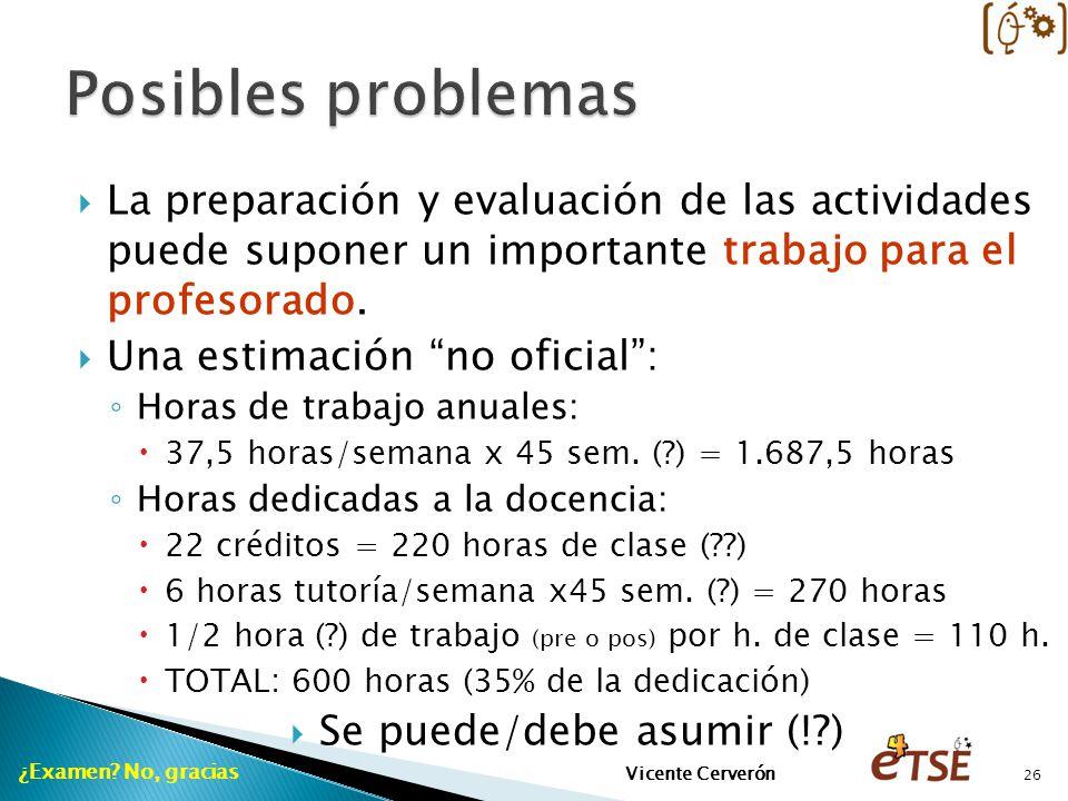 La preparación y evaluación de las actividades puede suponer un importante trabajo para el profesorado. Una estimación no oficial: Horas de trabajo an