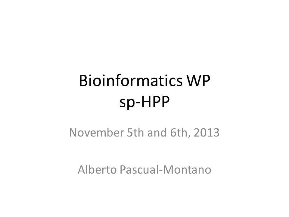 Bioinformatics WP sp-HPP November 5th and 6th, 2013 Alberto Pascual-Montano