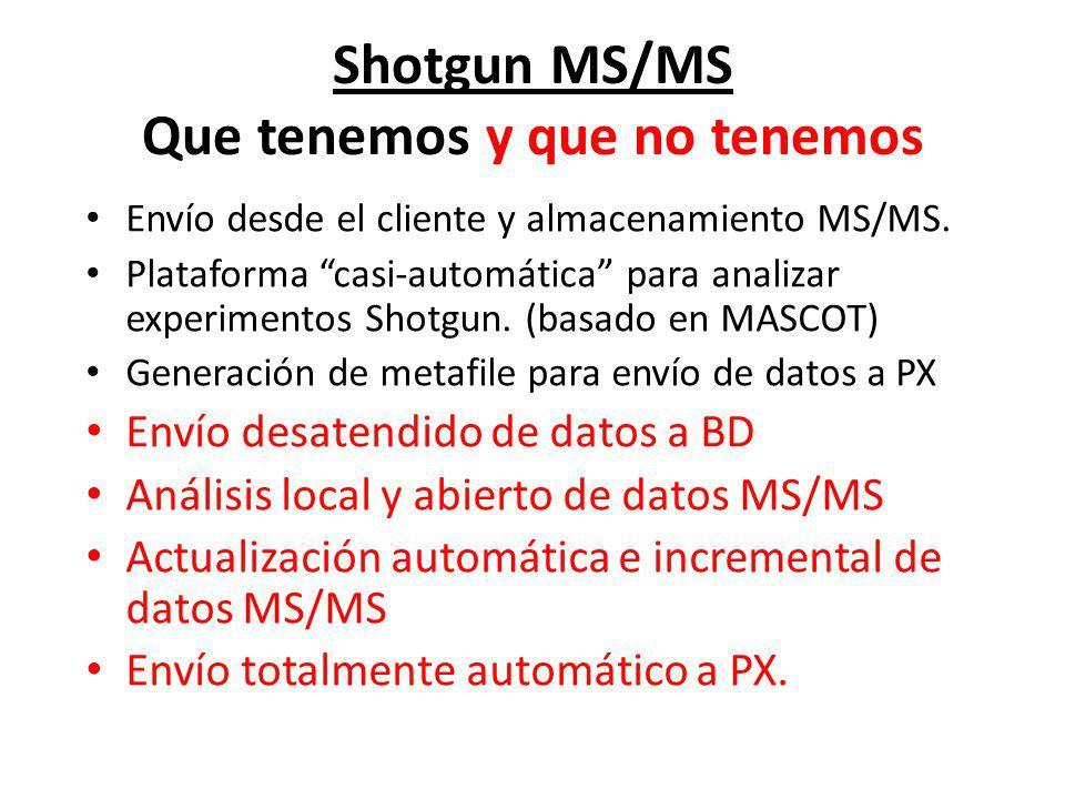 Shotgun MS/MS Que tenemos y que no tenemos Envío desde el cliente y almacenamiento MS/MS. Plataforma casi-automática para analizar experimentos Shotgu