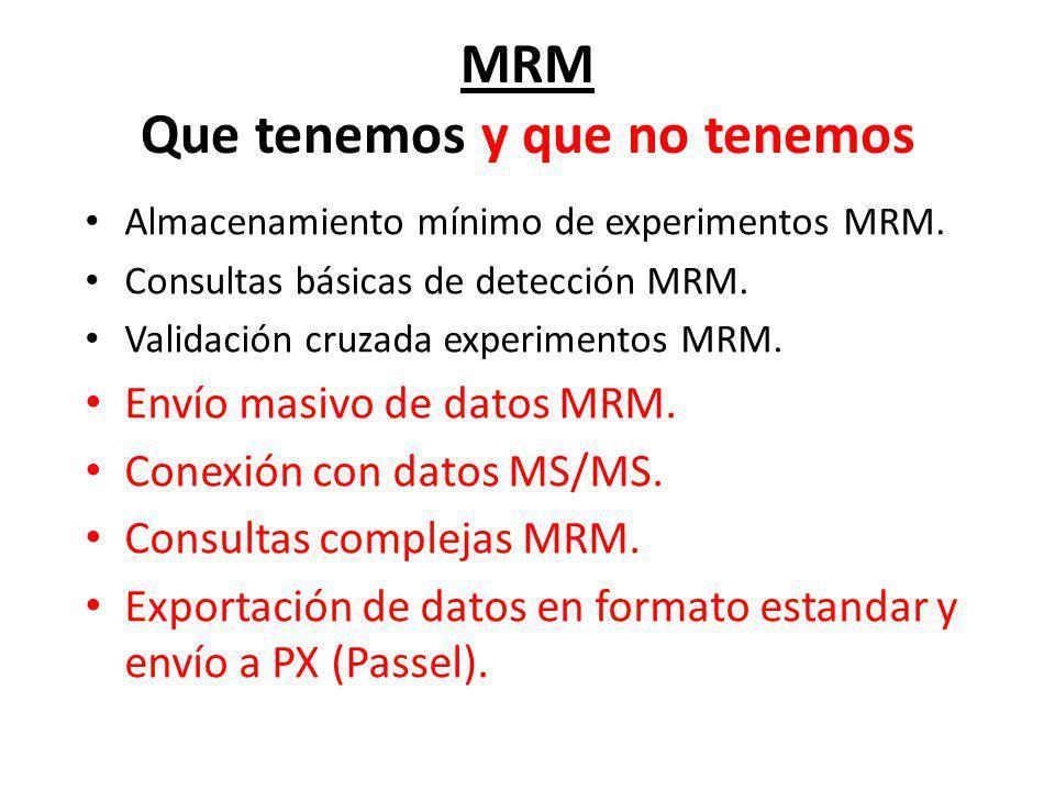 MRM Que tenemos y que no tenemos Almacenamiento mínimo de experimentos MRM. Consultas básicas de detección MRM. Validación cruzada experimentos MRM. E