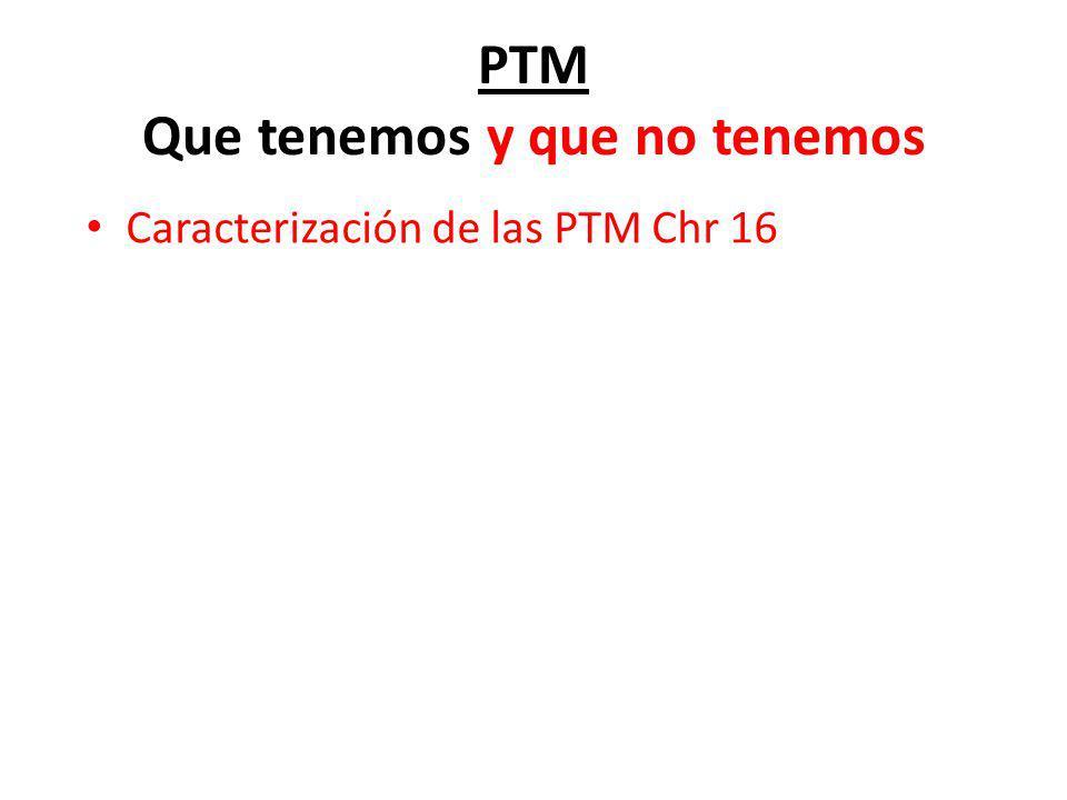 PTM Que tenemos y que no tenemos Caracterización de las PTM Chr 16