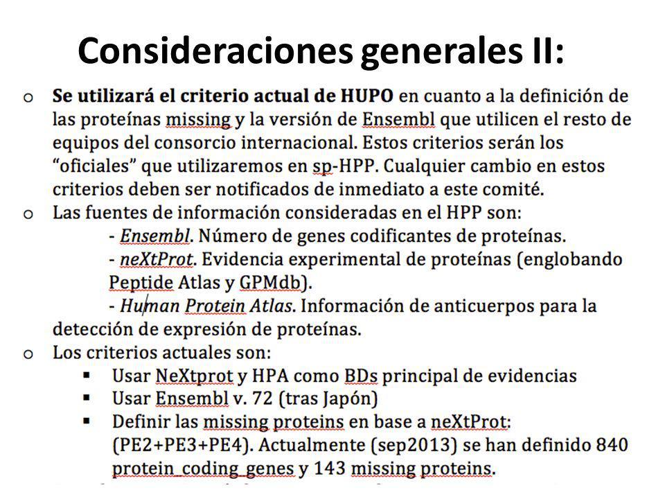 Consideraciones generales II: