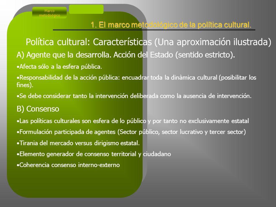 El estilo decisorio de la política cultural (**) Meny, I., Thoeneing, J.C(1992):Las políticas públicas. Ariel Madrid Política cultural Marco metodoógi