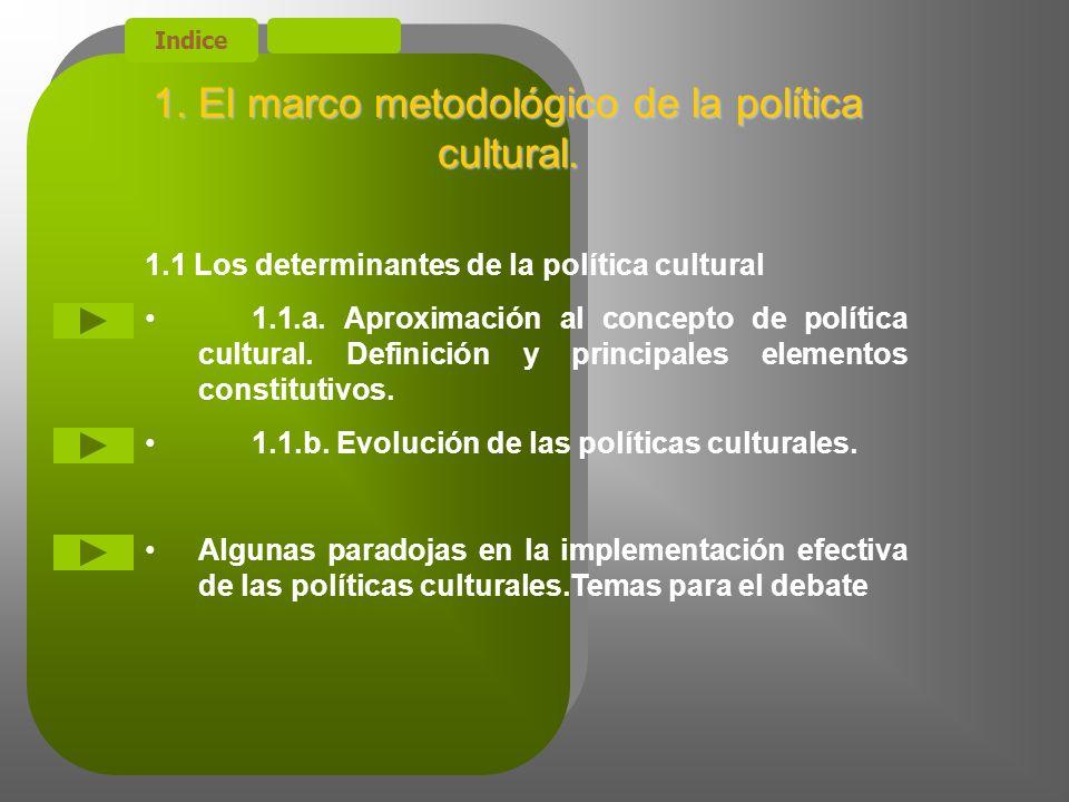 Indice 1.El marco metodológico de la política cultural.