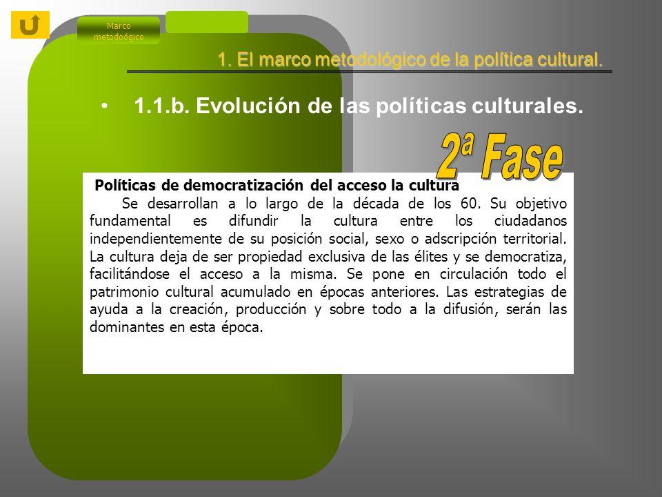 1.1.b. Evolución de las políticas culturales. Políticas patrimoniales. Este modelo de política cultural, tal como ya hemos indicado, tiene sus inicios