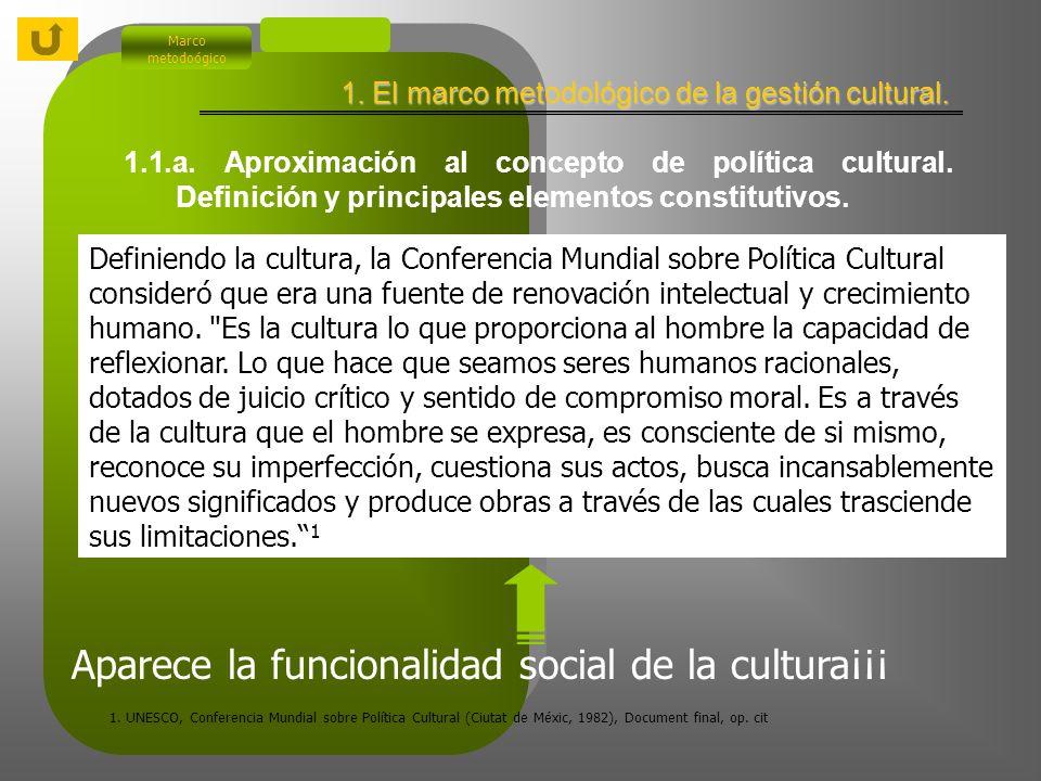 Indice 1. El marco metodológico de la política cultural.