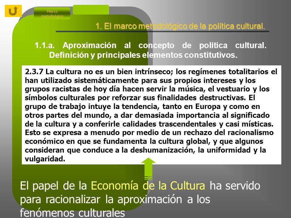 1. El marco metodológico de la gestión cultural. Marco metodoógico 1.1.a. Aproximación al concepto de política cultural. Definición y principales elem
