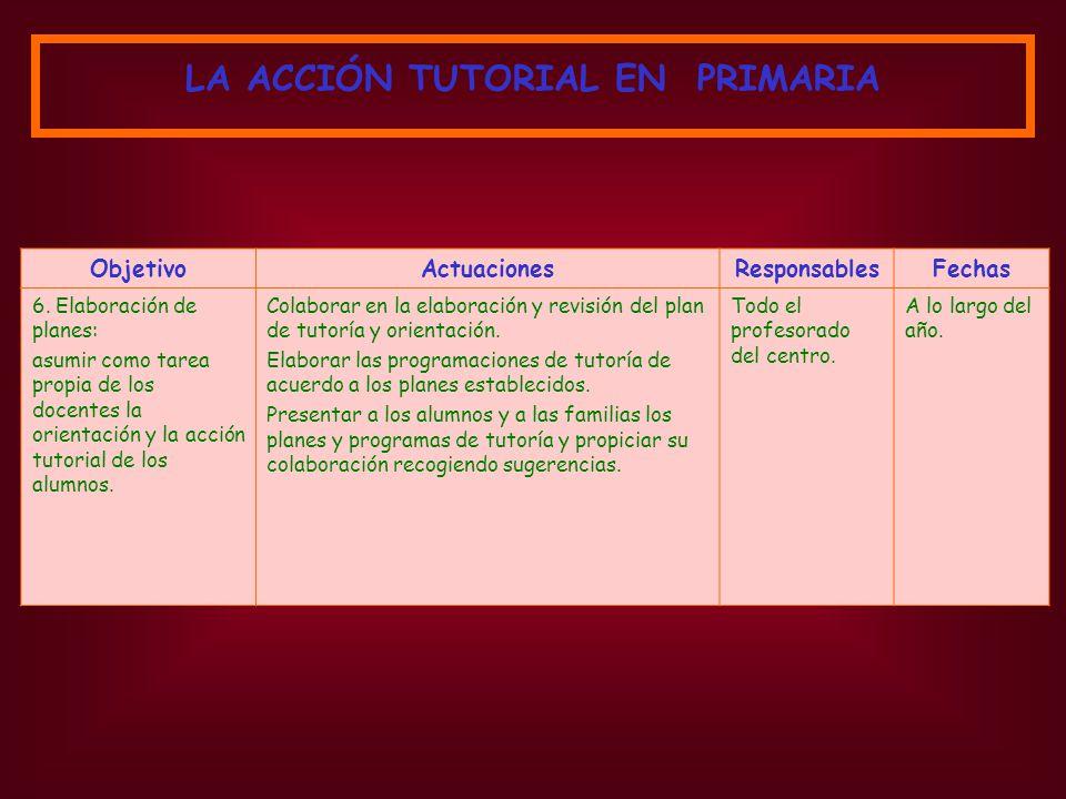 ObjetivoActuacionesResponsablesFechas 6. Elaboración de planes: asumir como tarea propia de los docentes la orientación y la acción tutorial de los al