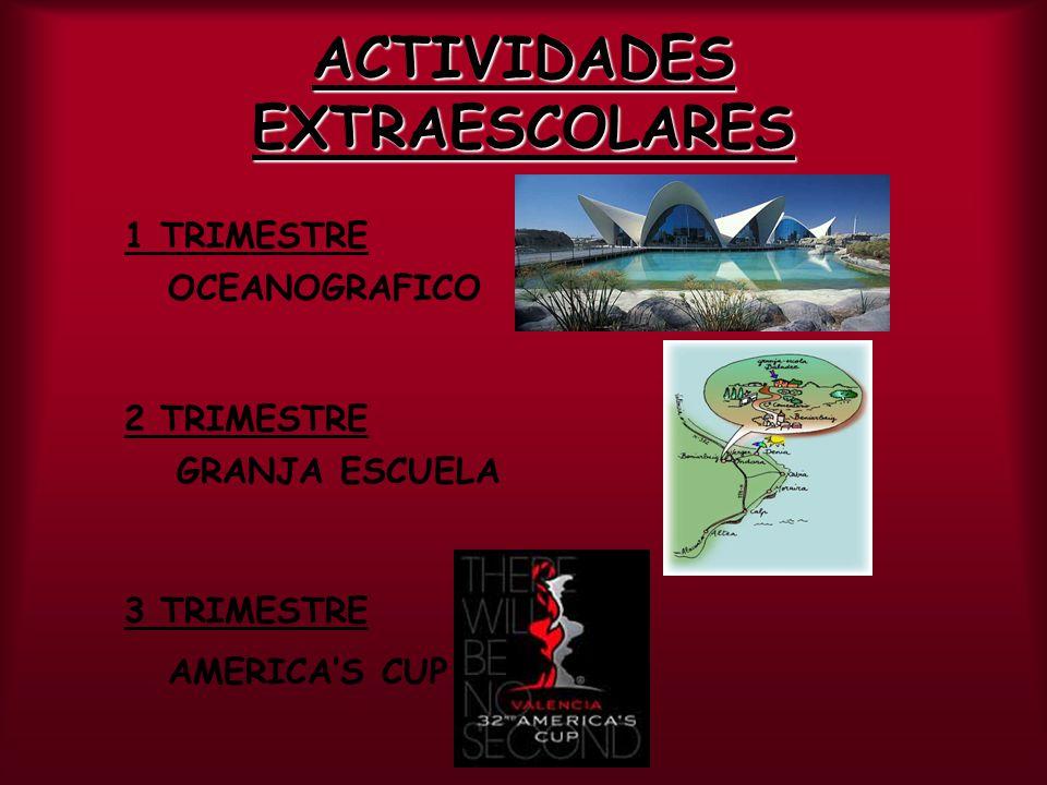 ACTIVIDADES EXTRAESCOLARES 1 TRIMESTRE OCEANOGRAFICO 2 TRIMESTRE GRANJA ESCUELA 3 TRIMESTRE AMERICAS CUP