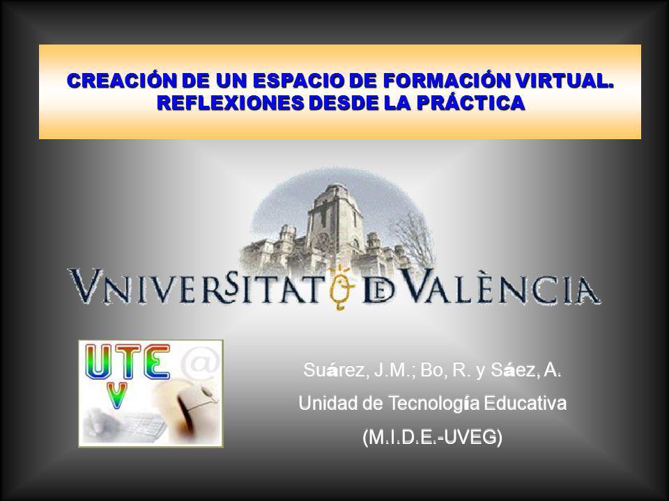 CREACIÓN DE UN ESPACIO DE FORMACIÓN VIRTUAL.REFLEXIONES DESDE LA PRÁCTICA Su á rez, J.M.; Bo, R.