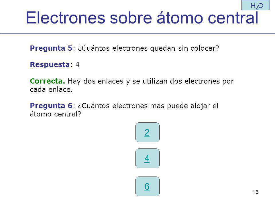 15 Electrones sobre átomo central H2OH2O Pregunta 5: ¿Cuántos electrones quedan sin colocar.