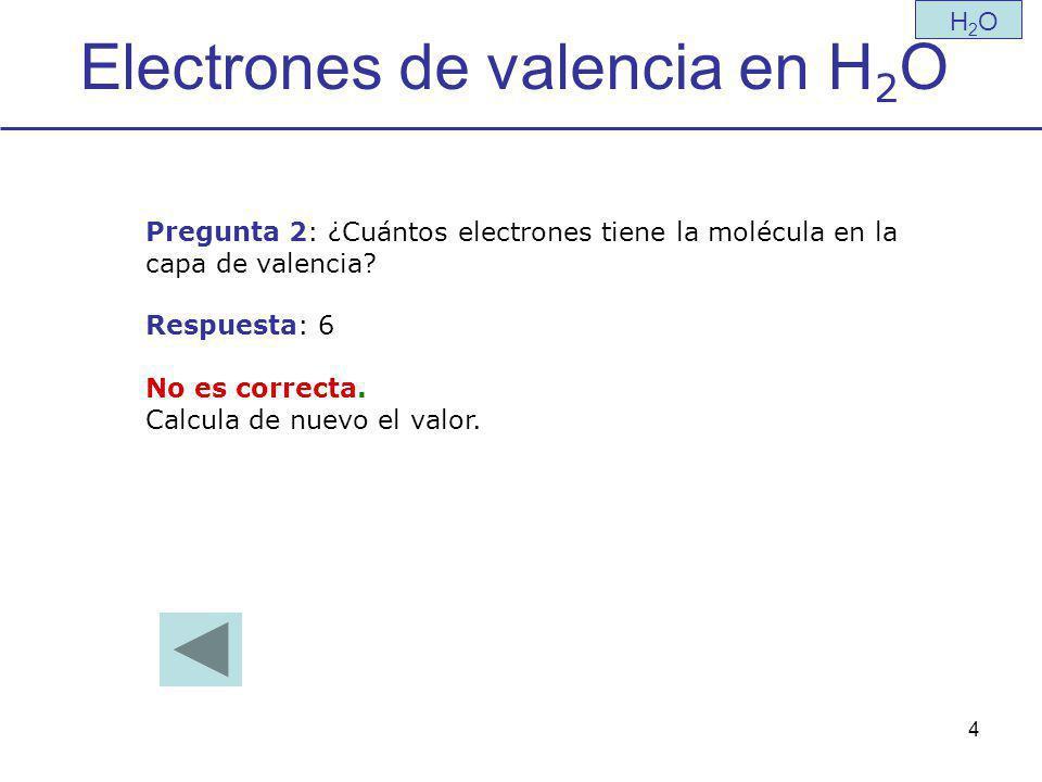 4 Electrones de valencia en H 2 O H2OH2O Pregunta 2: ¿Cuántos electrones tiene la molécula en la capa de valencia.