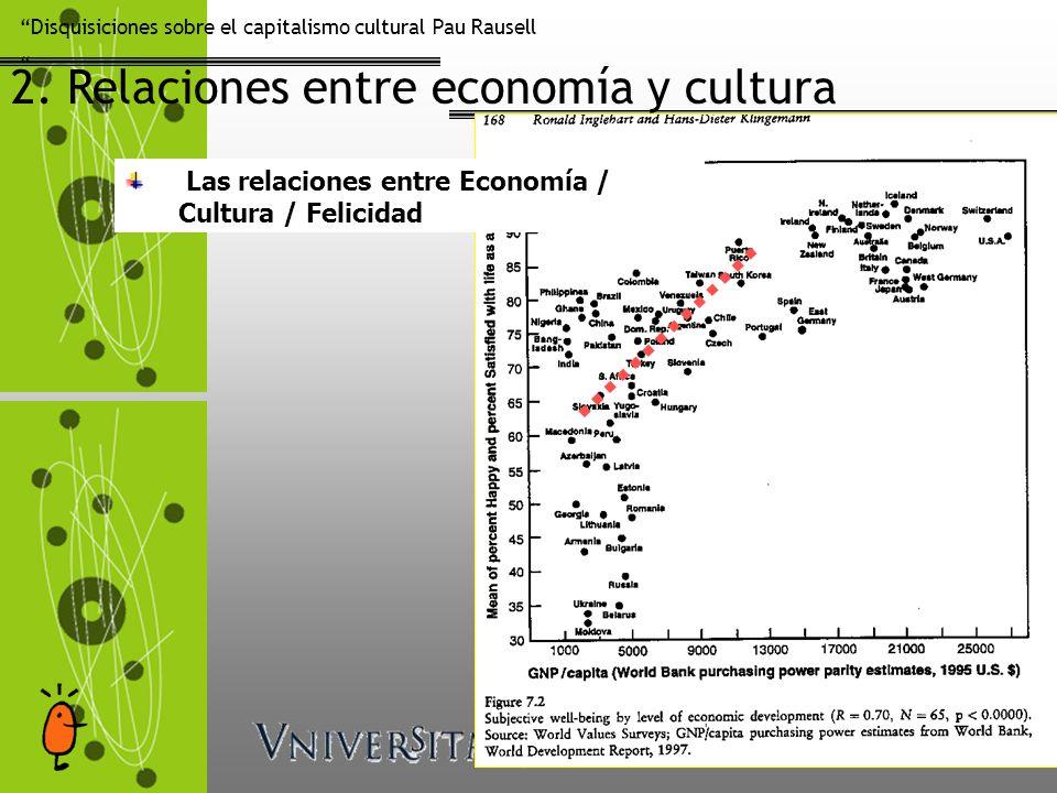 Disquisiciones sobre el capitalismo cultural Pau Rausell 2. Relaciones entre economía y cultura Las relaciones entre Economía / Cultura / Felicidad