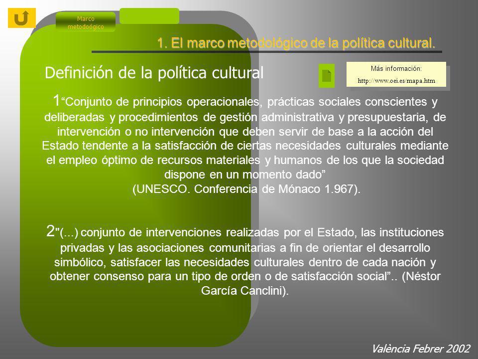 Marco metodoógico València Febrer 2002 1. El marco metodológico de la política cultural.