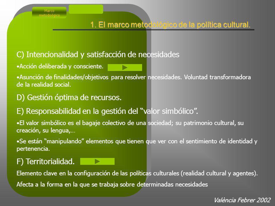 Política cultural: Características (Una aproximación ilustrada) A) Agente que la desarrolla. Acción del Estado (sentido estricto). Afecta sólo a la es